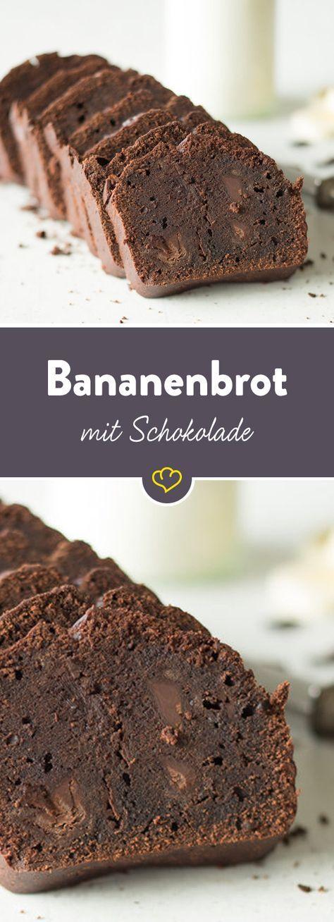 Ein wenig dekadent: Mit diesem Bananenbrot gönnst du dir die doppelte Schokoladendröhnung. Schokostückchen im sowieso schon bananigen Schokoteig.