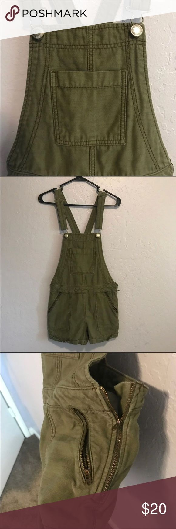 American Eagle overalls American Eagle olive overalls great for summer and spring! Size xs 00-1 perfect condition American Eagle Outfitters Other