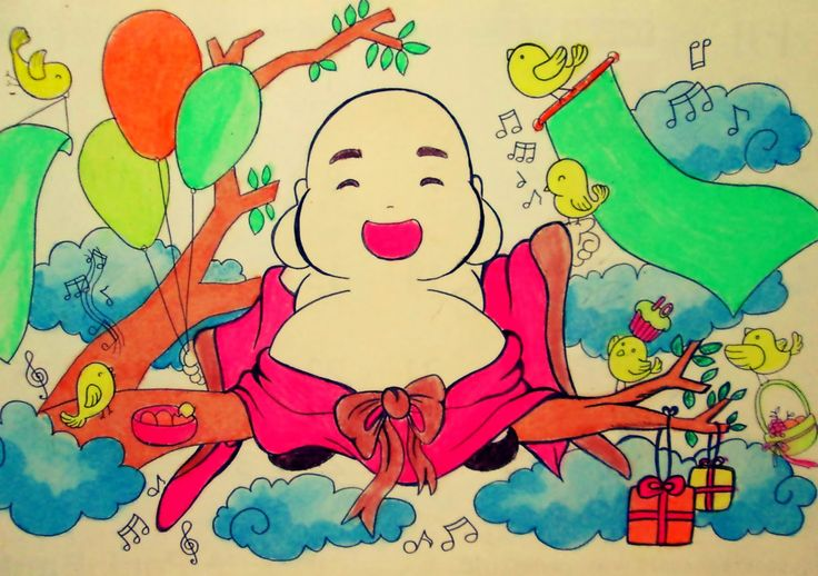 Buddha Maitreya: Little Maitreya: happy time on a tree