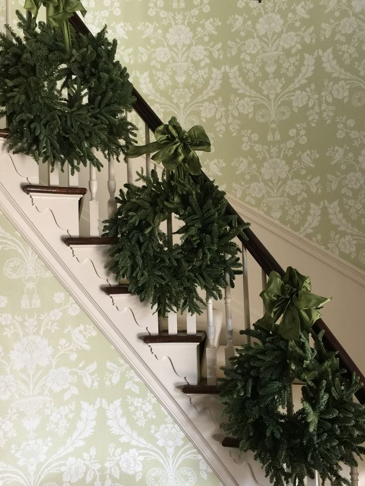 Fraser Firs decorating a staircase