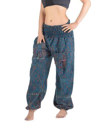 Pantalon bouffant laine imprimé petites fleurs