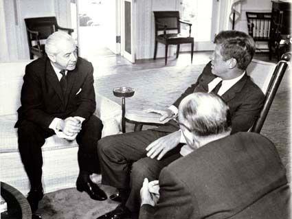 Australian Prime Minister Harold Holt meets Us President John F Kennedy in the Oval office in 1963.