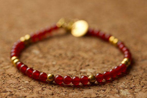 Red Carnelian Stacking Bracelet Dainty
