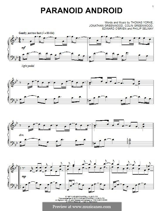 Paranoid Android (Radiohead): For piano by Colin Greenwood, Ed O'Brien, Jonny Greenwood, Phil Selway, Thomas Yorke