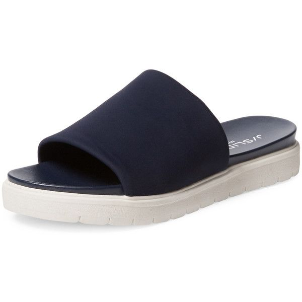 J Slides Women's Shelly Slip-On Sandal - Dark Blue/Navy - Size 8 ($59) ❤ liked on Polyvore featuring shoes, sandals, navy sandals, navy flat sandals, navy blue shoes, navy blue sandals and stretch shoes