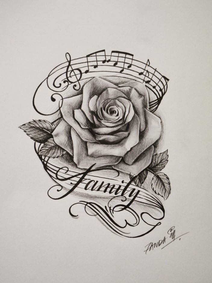 Image result for rose and music tattoo | tattoos ...