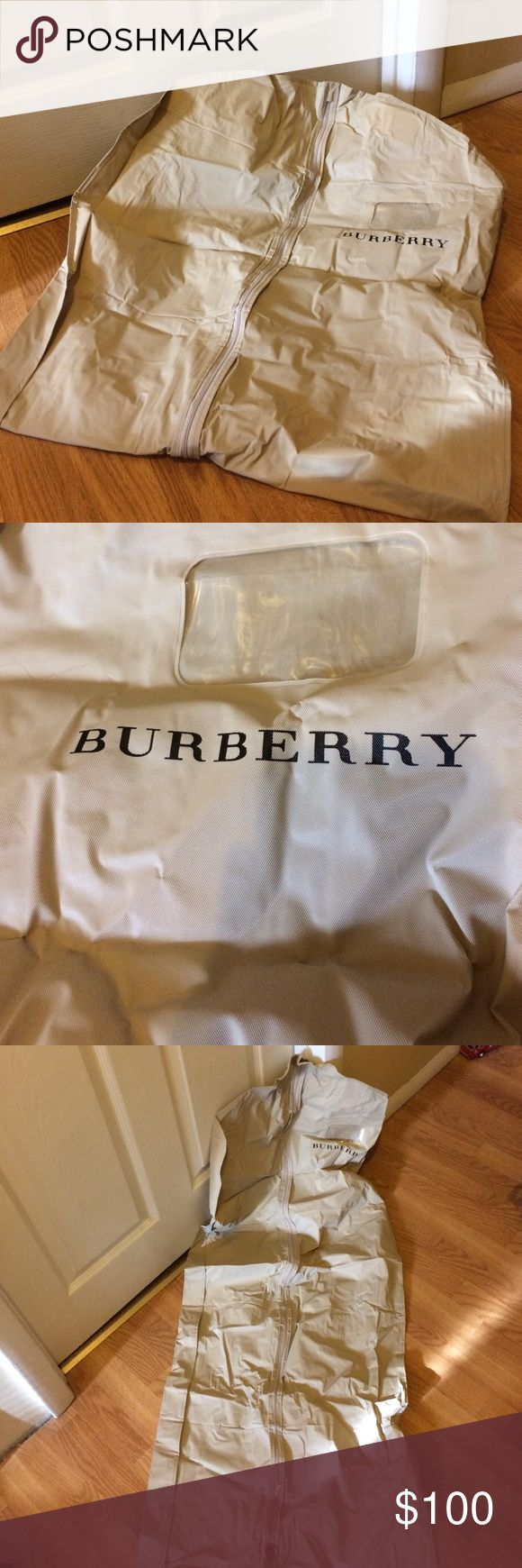 Burberry vinyl zippy garment bag no hanger Burberry garment bag no hanger garment bag only please look at pictures for condition will be folded when shipped measurements are approximate length 50 inches 20 inches across no returns please ask all questions prior to purchase smoke-free pet free home thank you Burberry Bags Travel Bags