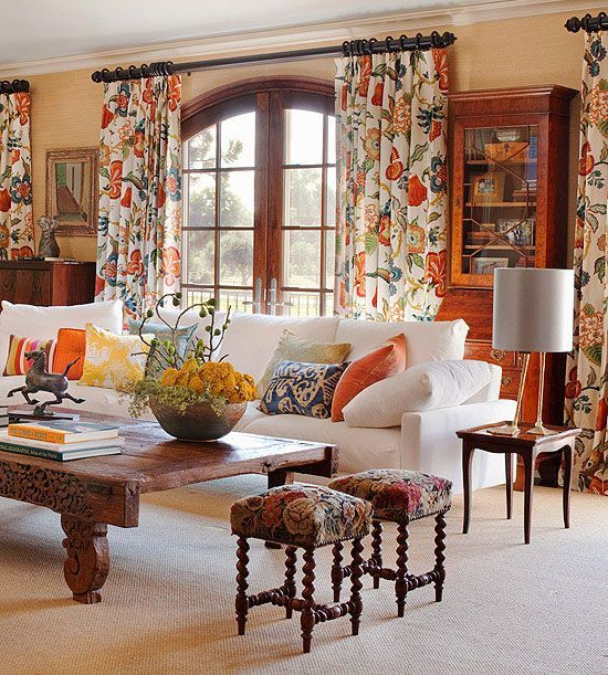 White Couch, Rustic Tabke And Pops Of Coral, Blue And Yellow: Living Room  With Floral Patterns. Part 70