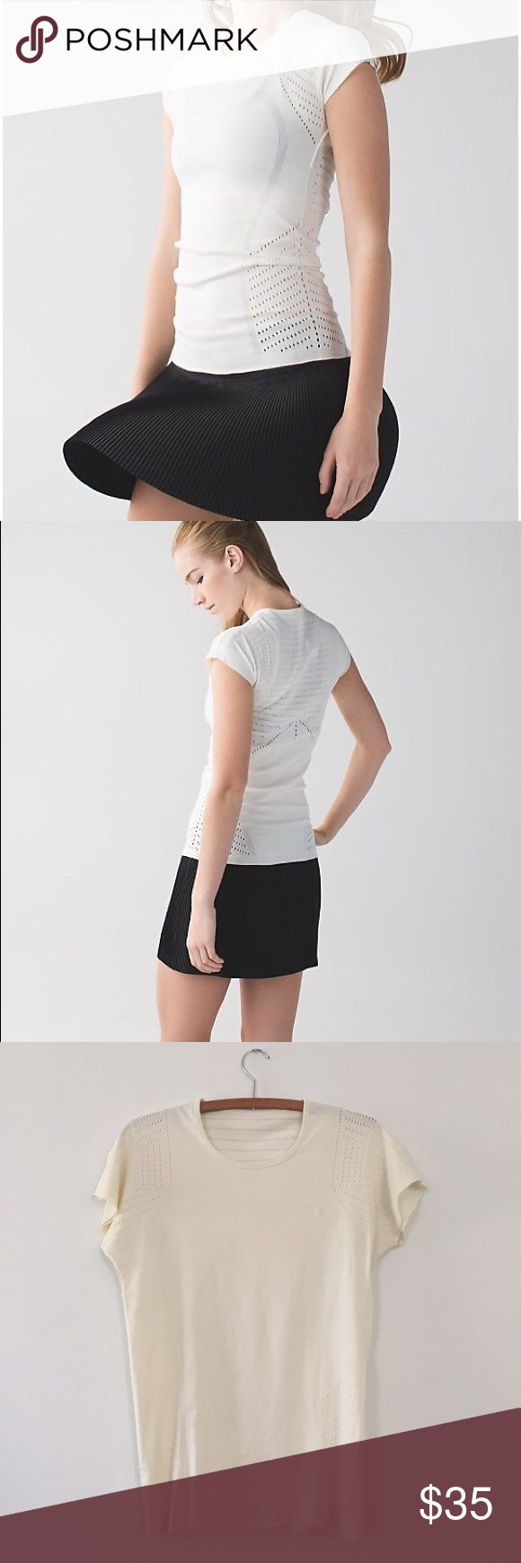 Lululemon Time Warp Top FROM LULU: Create a one-of-a-kind short sleeve tee that feels weightless, doesn't chafe, and gives us room to breathe when we're on the run? Challenge accepted. We engineered this shirt with lightweight fabric and plenty of ventilation for airflow on the go. Mission accomplished.  CONDITION: gently worn, with some staining on sleeves and back from running through mud. Color is off white/cream. lululemon athletica Tops Tees - Short Sleeve