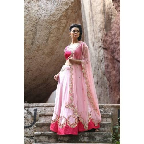 Buy The Secret Label Pink Georgette Embroidered Lehenga online in India at best price. Shop online Pink and golden lehenga set with dupatta by Architha Narayanam Pink and golden lehenga s