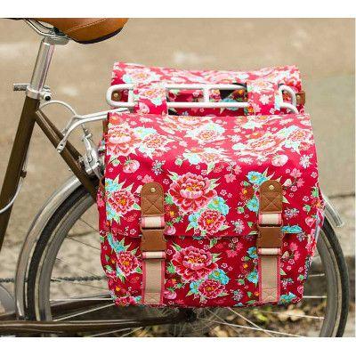 Double sacoche vélo 35L Bloom rouge fleurie - Basil