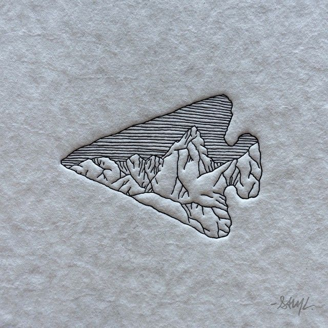 "New things in the works with my friend @clovestpress Here's a test print of ""Arrowhead Mountains"" #letterpress #design"