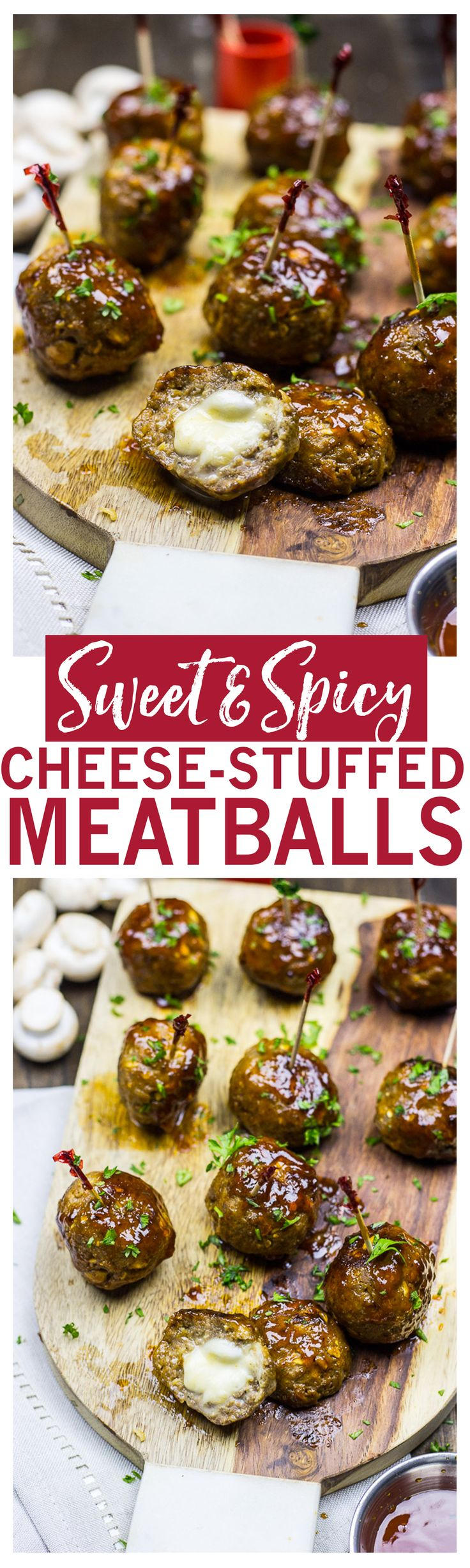 Sweet & Spicy Meatballs are the perfect appetizer   Filled with bocconcini cheese balls and tossed in a sweet BBQ sauce!