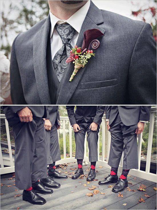 Charcoal suites: groosmen wear purple underneath, groom wears silver/gray... all with paisley ties!