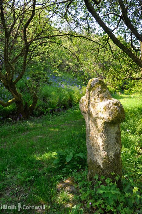 Granite cross beside the stream near Lesnewth, Cornwall