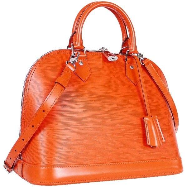 Pre-owned Orange Louis Vuitton Alma Handbag ($2,680) found on Polyvore featuring bags, handbags, bolsa, louis vuitton, purses/clutches, orange, orange purse, preowned bags, pre owned purses and louis vuitton bags