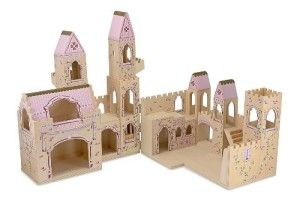 Melissa And Doug Princess Castle The castle itself is sturdy and surprisingly detailed in its construction.  DIMENSIONS: 18″ W x 15″deep closed and 26″high (Including the flag) and an incredible 36″ or 3 FEET long when unfolded. The roof and turrets are pink accented with gold. http://awsomegadgetsandtoysforgirlsandboys.com/melissa-and-doug-toys/ Melissa And Doug Princess Castle