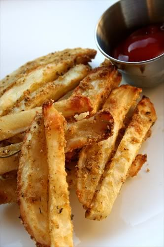 Oven baked Parmesan fries.