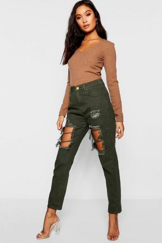 8ca0020ded44 High Waist Distressed Mom Jeans in 2019   Boohoo   Mom jeans, Boohoo ...