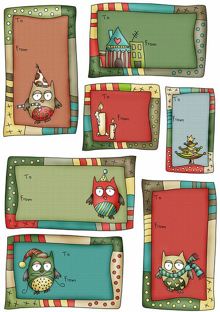 Printable Owl Christmas Labels