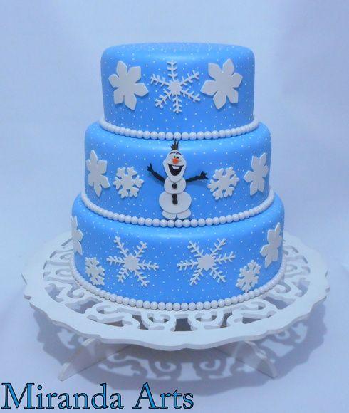 Bolo falso Frozen neve com Olaf