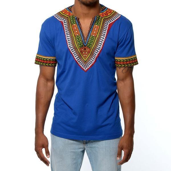 Men's African Print Dashiki T-Shirt (Blue)