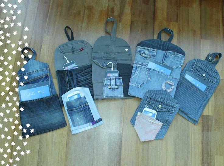 Oplaadzakken voor tablet en/of mobiel van upcycled denim spijkerbroeken. 4 Euro per stuk