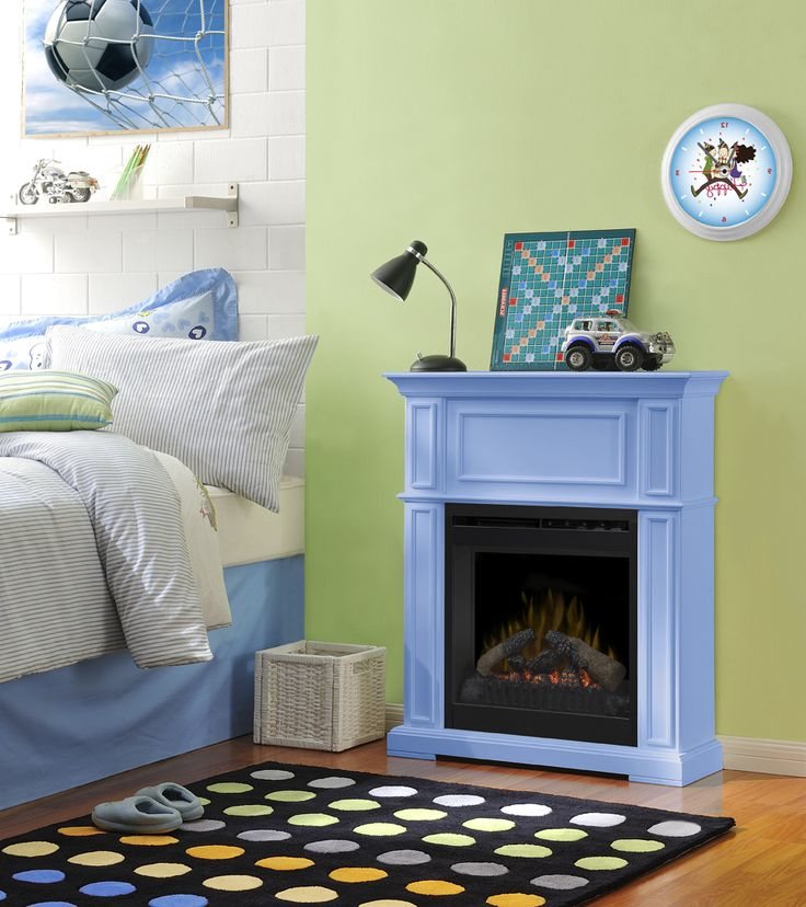 A Dimplex Paintable mantel can add just the right atmosphere to a child's bedroom study space.