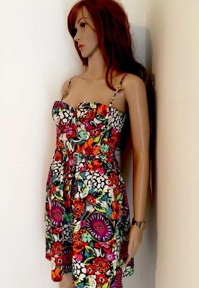 Moda Victoria Secret Dress Floral Spaghetti Strap Above Knee Size  XS #ModaInternational #Sundress #SummerBeach