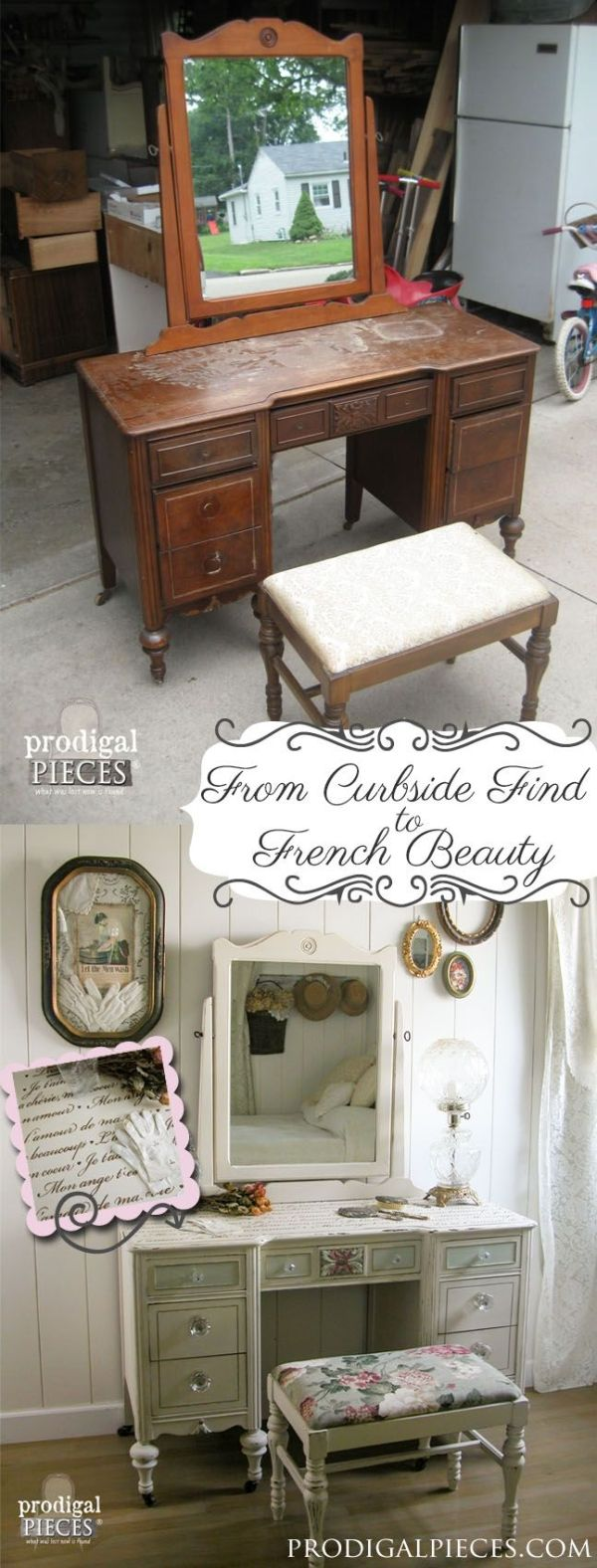 From curbside to French beauty - Shabby Chic Furniture using French quotes and lettering stencils - Royal Design Studio designer stencils for furniture makeover DIY projects by deborah