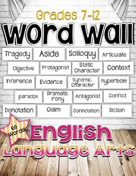 English Language Arts Word Wall for Grades 7-12 24 pages... English Language Arts, Specialty, Holidays/Seasonal, Back to School, Tools for Common Core Grade Levels 7th, 8th, 9th, 10th, 11th, 12th, Homeschool, Staff... 60 ELA grades 7-12 words for your classroom word wall. Requires 8.5 by 11 paper 60 words- 3 words to a page Use plain white paper or color paper. Regular weight or card stock.