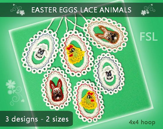Easter Eggs  lace designs No.297  FSL  4x4 hoop  by EmbroideryRady