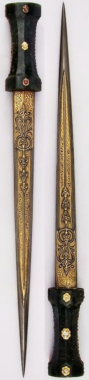 Ottoman dagger, 19th century, steel, gold, jade, ruby, emerald, diamond. L. 19 1/16 in. (48.4 cm); L. of blade 14 5/8 in. (37.1 cm); W. 1 7/8 in. (4.8 cm); D. 1 1/4 in. (3.2 cm); Wt.14.3 oz. (405.4 g), Met Museum.