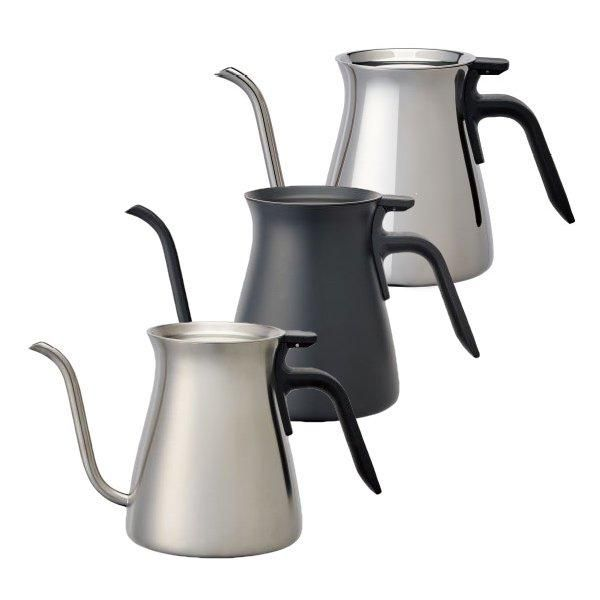 The Kinto Pour Over Kettle combines well thought out function and brilliant aesthetics. The gooseneck shaped spout and well-balanced body allow precise and easy control over flow, pour position and volume, making it perfect for making pour over coffee.  The hinged  lid will stay in place when you tip the kettle and can be easily opened with one hand. The kettle can be heated on the direct fire as it is made of stainless steel.