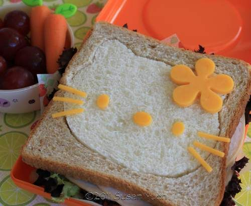 Hello Kitty sandwich and other bentosFun Food, Bento Boxes, Bento Lunch, Kids Lunches, For Kids, Lunches Ideas, Kitty Sandwiches, Hello Kitty, Kids Food