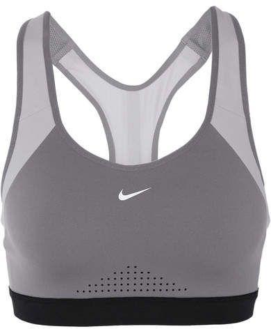ace06be6446c5 Nike - Motion Adapt Mesh-paneled Stretch-jersey Sports Bra - Gray ...