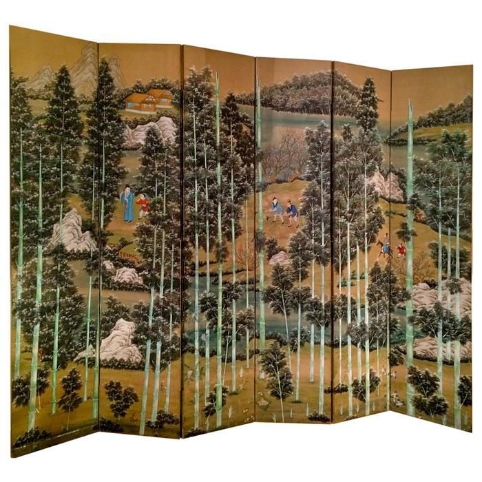 A large scale Chinese hand painted six-panel screen depicting a bamboo forest interspersed with groups of figures and rock outcroppings. The vertical lines of the bamboo trees give this screen a very decorative and modern feel. 7 feet 8 inches tall 120 inches wide when fully opened.  Circa 1880.