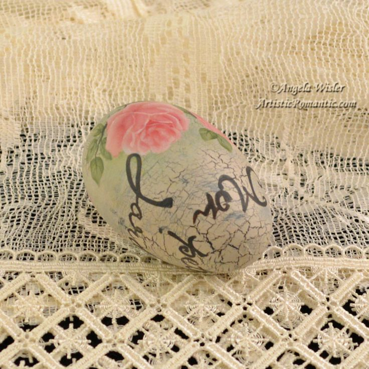 Country French Script Shabby Pink Rose Easter Egg Hand Painted Cottage – Artistic Romantic