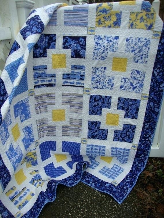 Lap Twin Quilt Blues Yellow White 225 Easy Blue And White Quilt Patterns Blue And White Quilts Images Navy Blue And White Quil Yellow Quilts Blue Quilts Quilts