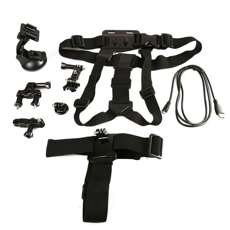 6 In 1 Gopro Accessoire Kit voor fiets en mountainbike met instelbare borstband / harnas & Hoofdband & Micro Hdmi HD kabel  De Gopro set heeft onder andere een Hoofdband en borst band    1) Deze kit is ontworpen voor de actieve fietser en mountainbiker 2) Gloednieuw en van hoge kwaliteit 3) Pakket bevat: - 1 x Fietsstuur steun / houder - 1 x Statief - 1 x Zuignap - 1 x Instelbare borstband / harnas - 1 x Hoofdband - 1 x Micro HDMI HD Kabel    Geschikt voor oa: GoPro HERO 4 Session / 5 / 4…