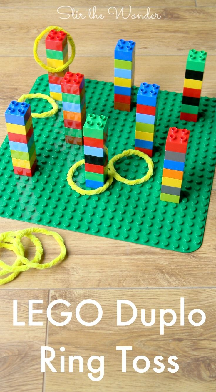 LEGO Duplo Ring Toss Game is fun for kids of all ages! By building  playing this game kids will practice fine motor  math skills! @foisinios