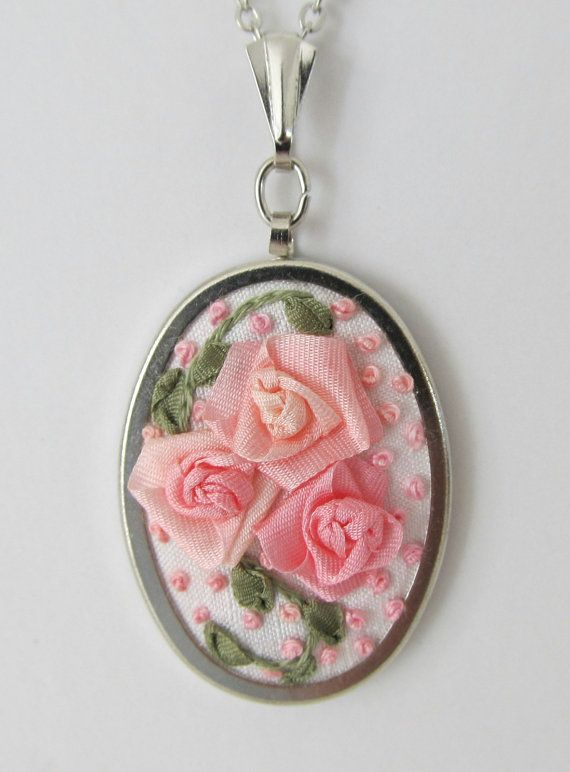 Pink Roses Silk Ribbon Embroidery Pendant  On by LadyLexiDesigns, $18.00