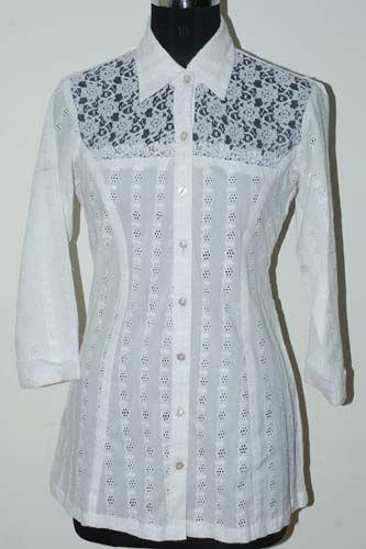 White Silk Tunic Blouse