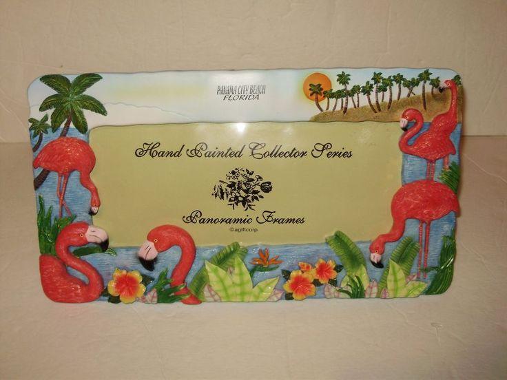 Pink Flamingo hand painted panoramic picture frame Panama city beach Florida