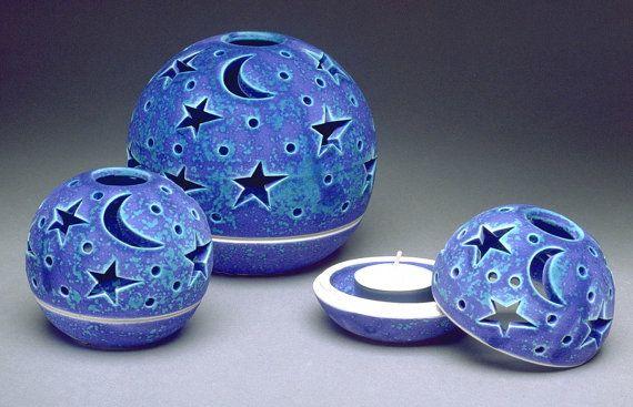 Ceramic Candle Holder Blue moon Star Velvet por blueroompottery