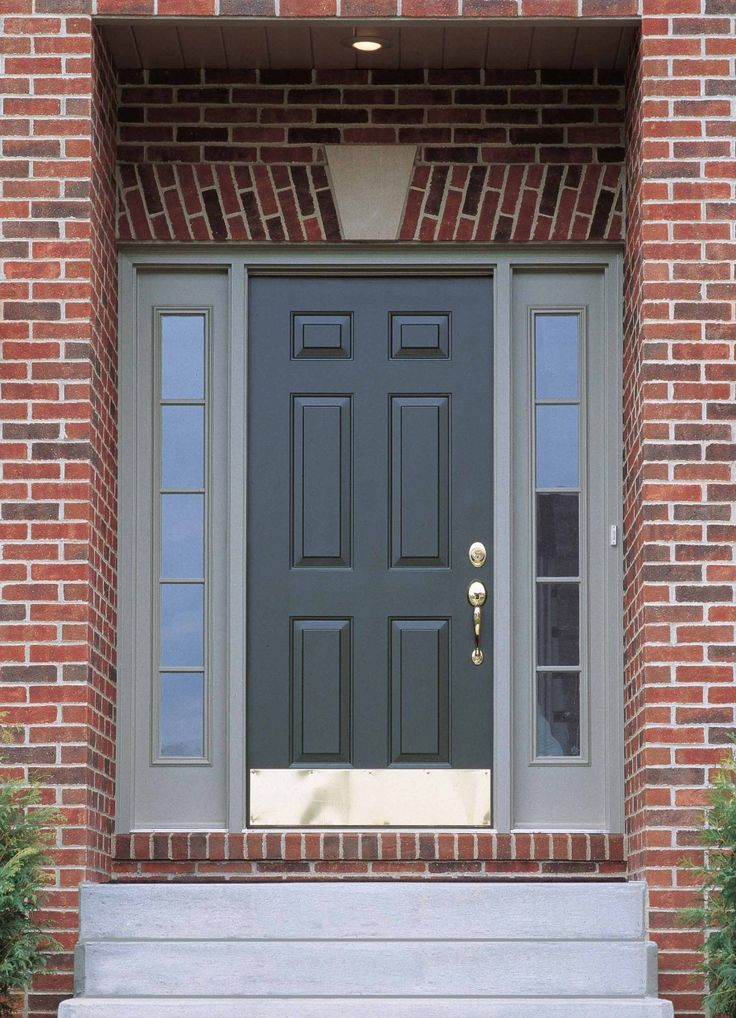 Exterior, : Fabulous Decorating Ideas Using Small Rounded Ceiling Fittings And Rectangular Grey Wooden Doors Also With Brown Bricks