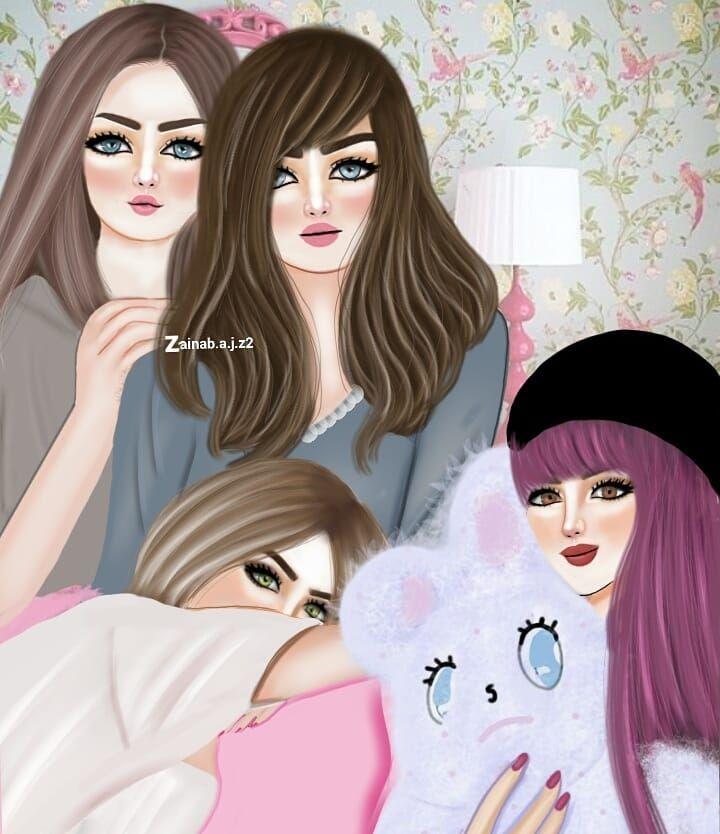 ما تحلى الأوقات إلا مع صديقاتي رسمتي صديقات العمر صديقاتي خوات دمج Cute Bff Pictures Girly Art Girly Pictures