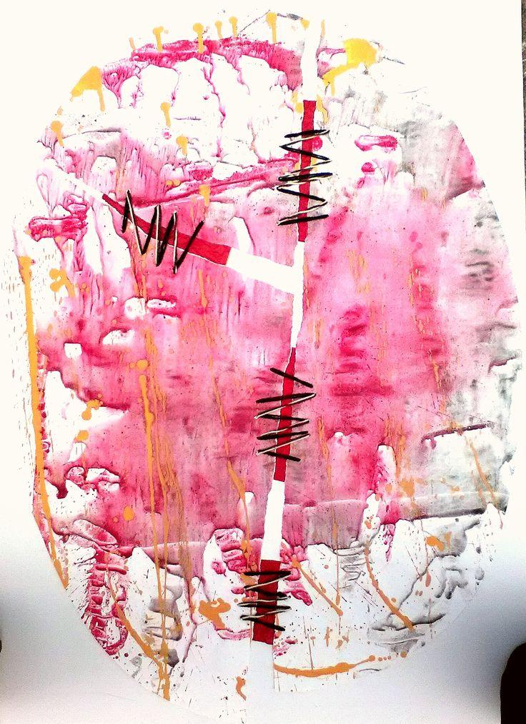 """N.1 """"Sutura1"""", Parella 2010 Tecnica mista e Acetato cm 100x70"""