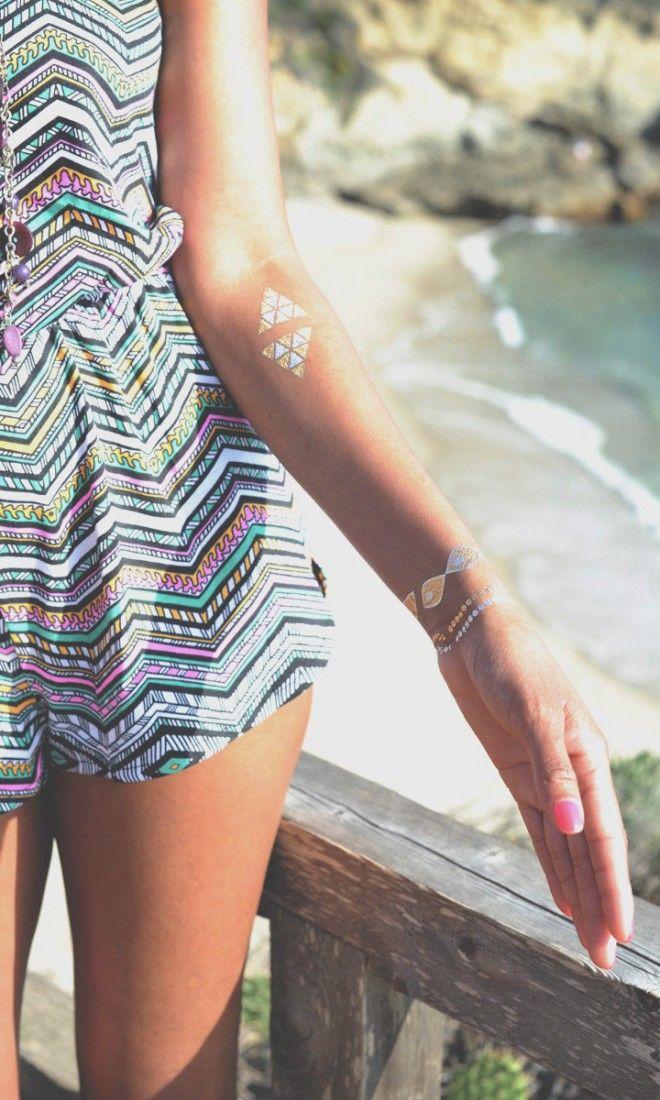 beachy geometrical temporary tattoos