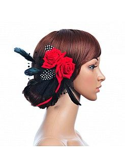 Rosette Flower Hair Flower with Tasseled Feather - USD $10.99